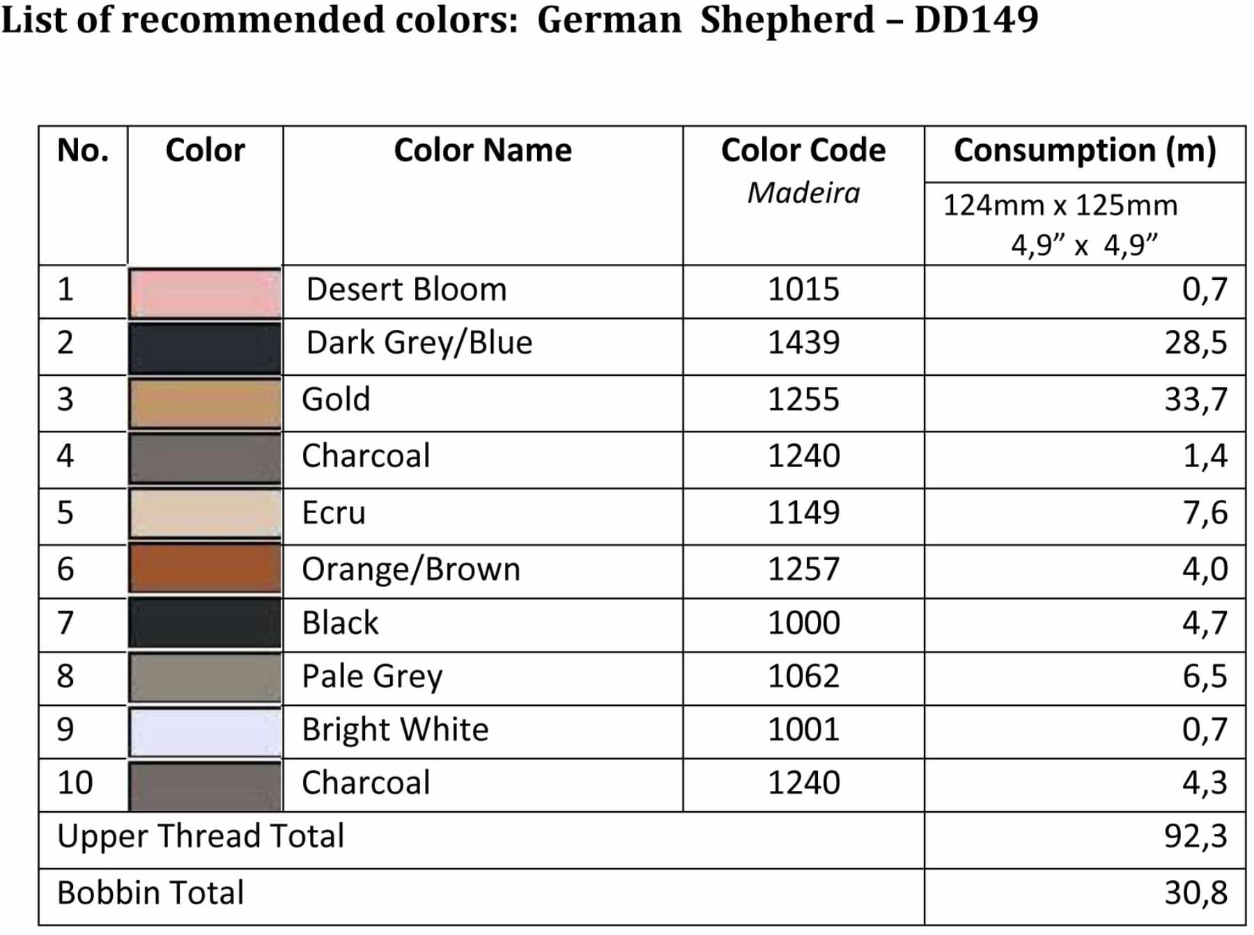 List of recommended colors - German Shepherd - Large DD149