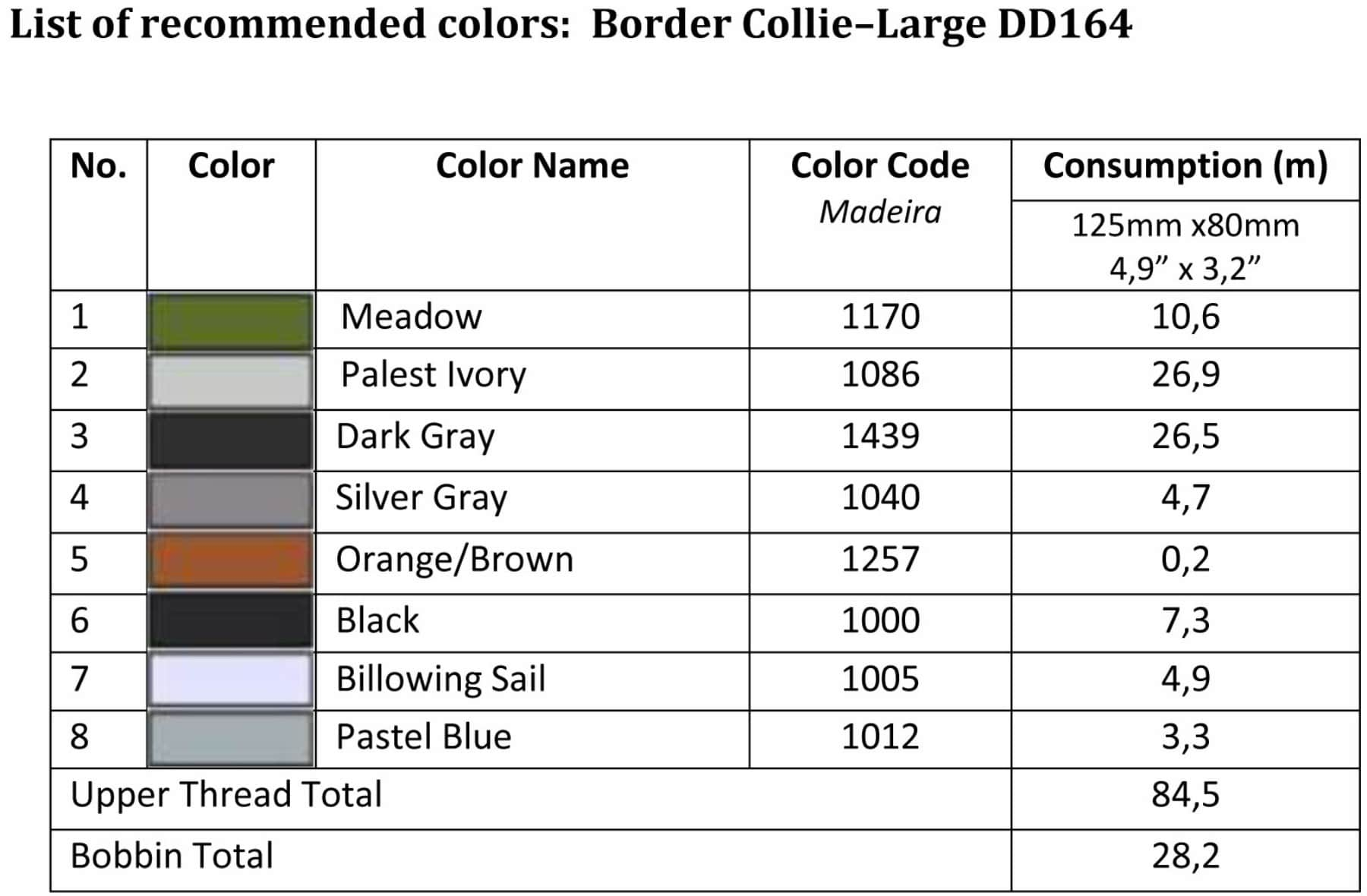 List of recommended colors - Large DD164